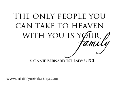 Family Quote by Connie Bernard | Ministry Mentorship